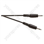 Standard 3.5 mm Mono Jack Plug to 3.5 mm Mono Jack Plug Lead - Length 1.2m