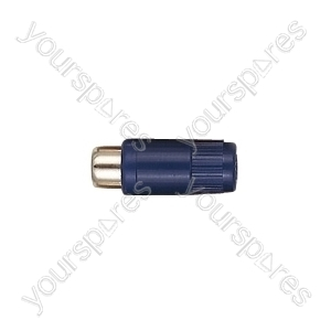 Phono Line Socket with Hard Plastic Cover and Solder Terminals - Colour Blue