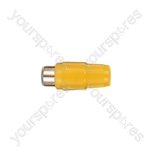 Phono Line Socket with Hard Plastic Cover and Solder Terminals - Colour Yellow