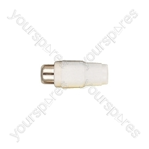 Phono Line Socket with Hard Plastic Cover and Solder Terminals - Colour White