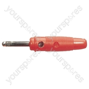 4 mm Banana Plug with Soft Plastic Cover and Screw Terminals - Colour Red