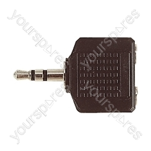 3.5 mm Stereo Plug to 2x 3.5 mm Stereo Sockets Adaptor
