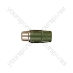 Phono Line Socket with Hard Plastic Cover and Solder Terminals - Colour Green