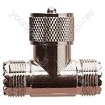 UHF T Connector (Female/Male/Female)