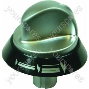 Indesit Silver & Black Hob Hotplate Control Knob