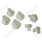 4 X Universal Cooker/Oven/Grill Control Knob And Adaptors White